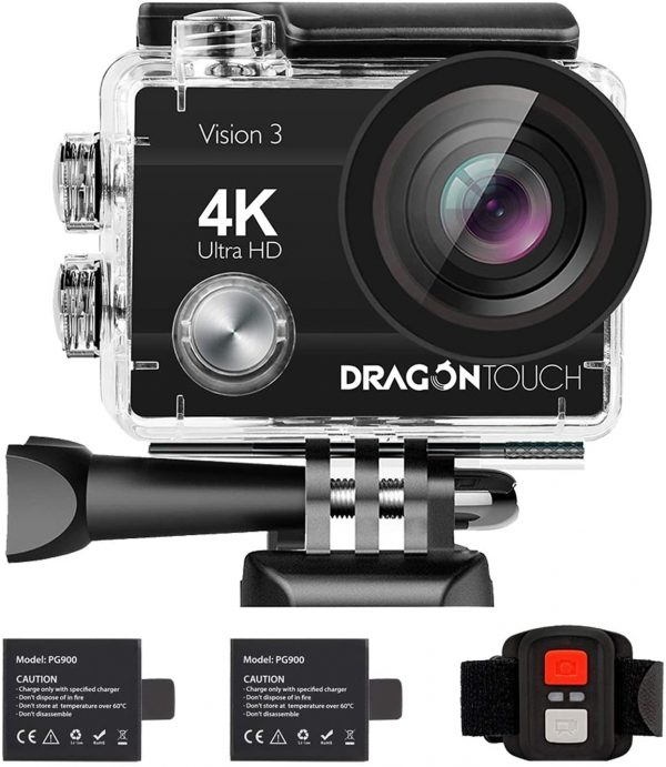Dragon Touch Vision 3 4K Ultra HD Underwater Sports Action Camera